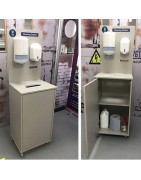 Free standing hand sanitising station,Wall mounted sanitising board, Hand sanitising bottles, alkohol free wipes, antibacterial wipes, Hand and surface cleaner.